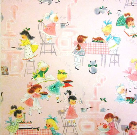 Vintage Wrapping Paper  Girls Baking at by TillaHomestead on Etsy, $7.00