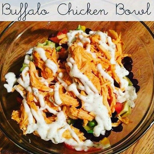 YUMMY!!! Buffalo Chicken Bowl Yields 6-8 servings 21 Day Fix approved: 2 Yellow 1.5 Red 1 Blue 1/2 Green Ingredients: 2 (15-oz.) cans organic corn 2 (15-oz.) cans organic black beans 3 avocados 2 tomatoes 6 chicken breasts 1 cup Franks Red Hot Buffalo Sauce 1 tablespoon garlic minced 1 packet Hidden Valley Greek Yogurt Dressing 1-1/3 cups plain Greek yogurt 3 tablespoons milk (I used 2% milk) Directions: Throw the chicken garlic and hot sauce into the crockpot and cook on low for 6 hours or…