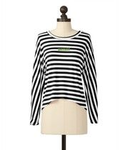 The Baylor University Striped Button Back Dolman  in Black