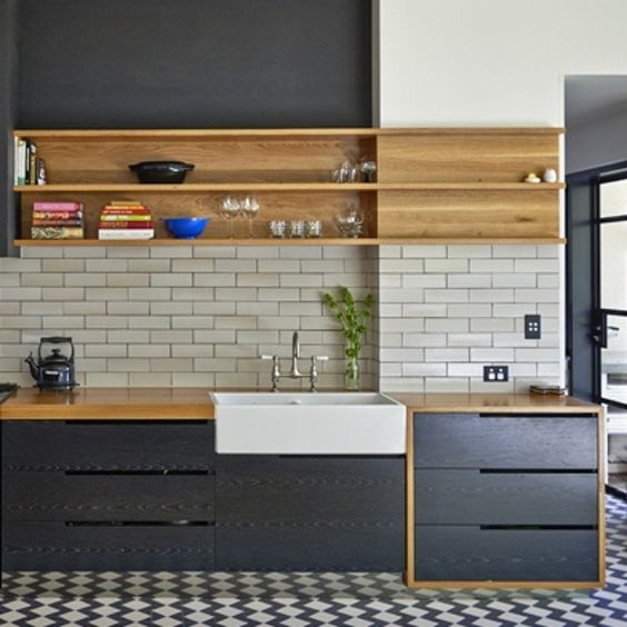 Charcoal cabinetry. A residence refurb by @Enoki_design