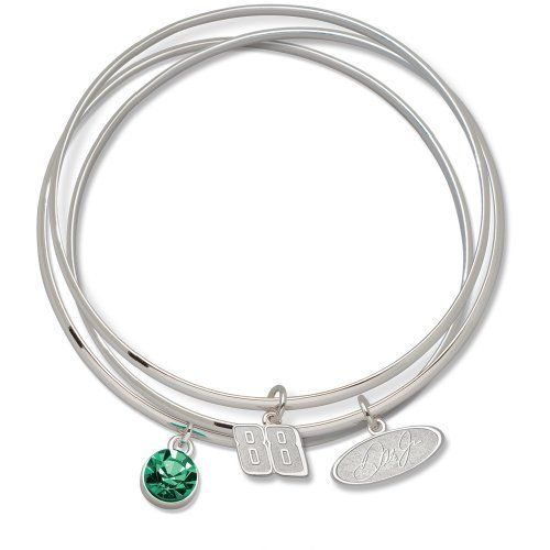 Dale Earnhardt Junior #88 Triple Bangle Bracelet (Green) by Logo Art. $28.35. LogoArt  has creatively taken your favorite team logo in a highly polished alloy and enhanced this trendy triple bangle bracelet design with a clean and bright Preciosa crystal charm, symbolizing the distinctive team color.