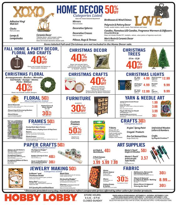 Hobby Lobby Weekly Ad September 11 - 17, 2016 - http://www.olcatalog.com/grocery/hobby-lobby-weekly-ad.html