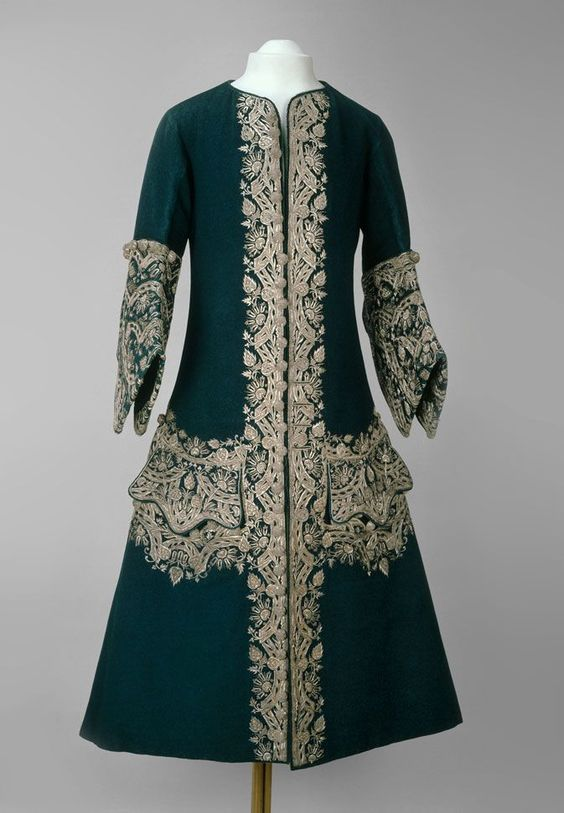 "This deep green wool coat, worn by Emperor Peter II, 1727-1730, must have been dazzling © The Moscow Kremlin Museums. From the exhibit ""Magnificence of the Tsars, Ceremonial Men's Dress