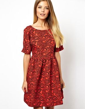 Image 1 of ASOS Smock Dress In Red Paisley Jacquard