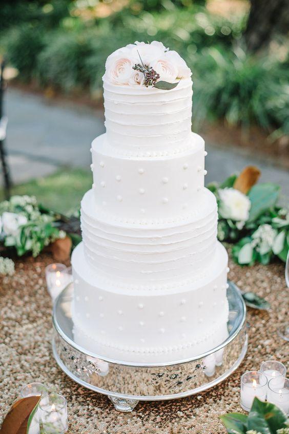 White textured 4 tier wedding cake