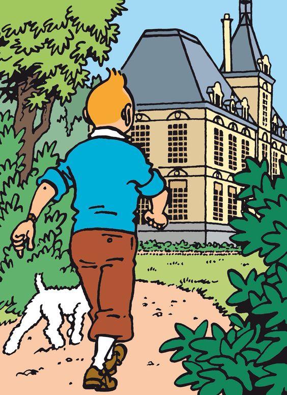 屋敷に向かって歩くタンタンの画像