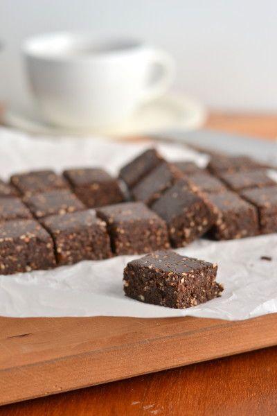 Raw vegan brownies. ¾ C raw walnuts ½ C raw almonds 1¼ C pitted Medjool dates, packed ½ C unsweetened cocoa powder 1 tbsp instant coffee(I used medium roast) 1 tsp pure vanilla extract pinch sea salt