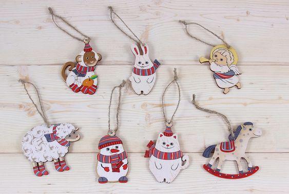 Набор ёлочных игрушек, деревянные игрушки на ёлку, лазерная резка