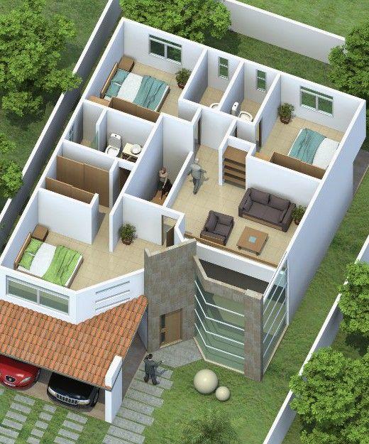 Maquetas de casas manualidades pinterest for Ver interiores de casas