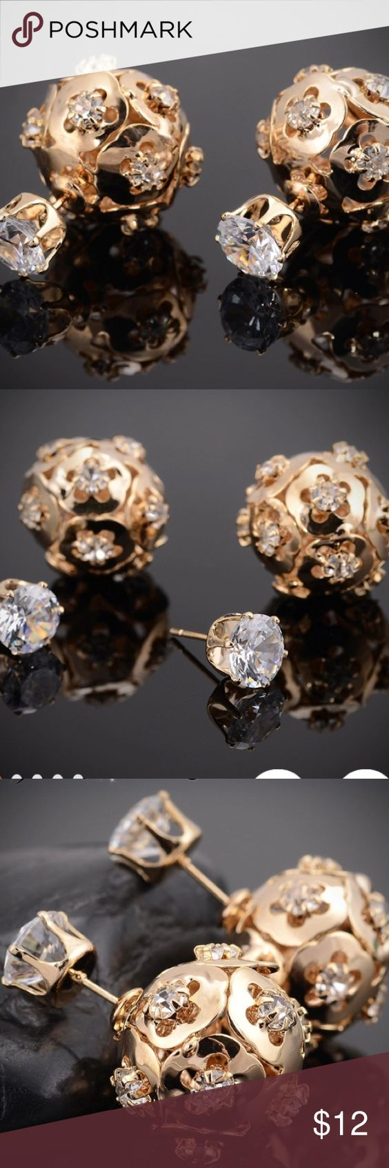 Sale‼️ Hollow double sided crystal ball earrings! I fell in love at first sight. These earrings are not only unique but the design is flawless and this is what fashion is all about! Extraordinary amazing fashion accessories that make a statement! Item comes in a pink box  Jewelry Earrings