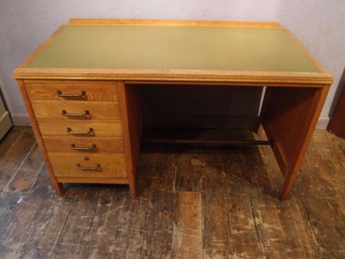 ANTIQUE 1960's OAK VINTAGE INDUSTRIAL OFFICE REMPLOY PEDESTAL DESK WRITING  TABLE | eBay | Scenic design studio | Pinterest | Antique furniture, ... - ANTIQUE 1960's OAK VINTAGE INDUSTRIAL OFFICE REMPLOY PEDESTAL DESK
