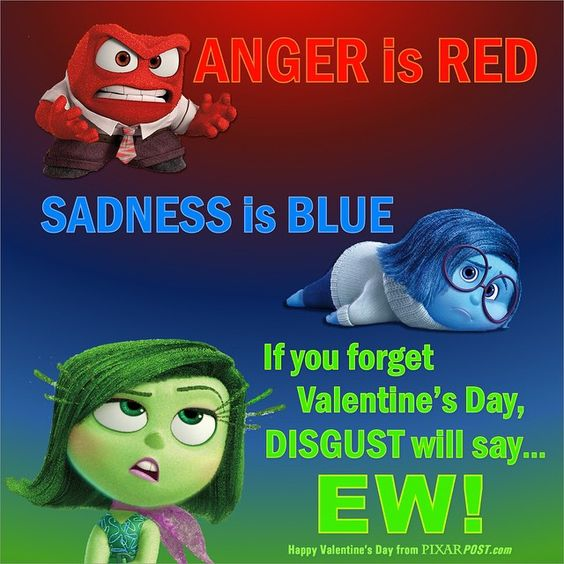 """We created a custom #InsideOut inspired #ValentinesDay card. """"Anger is RED, Sadness is BLUE, If you forget Valentine's Day, Disgust will say…EW!"""" #Pixar"""