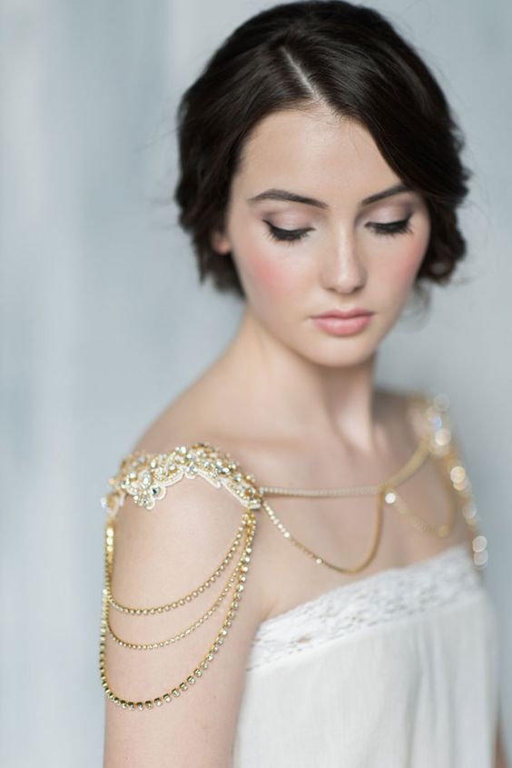 Jacquelyn Gold Shoulder Necklace features Venice lace hand beaded with Preciosa crystals, draped chains of Preciosa crystals and Swarovski crystal tear drops.