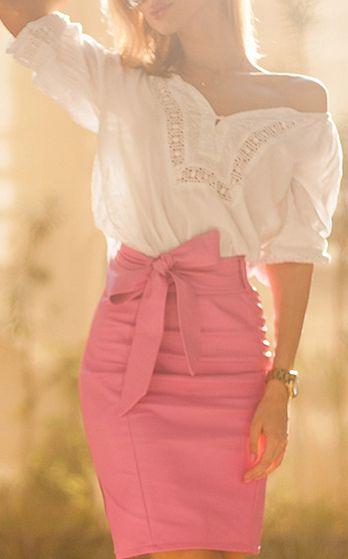 Candy Pink Faux Leather Pencil Skirt | Faldas y pantalones ...