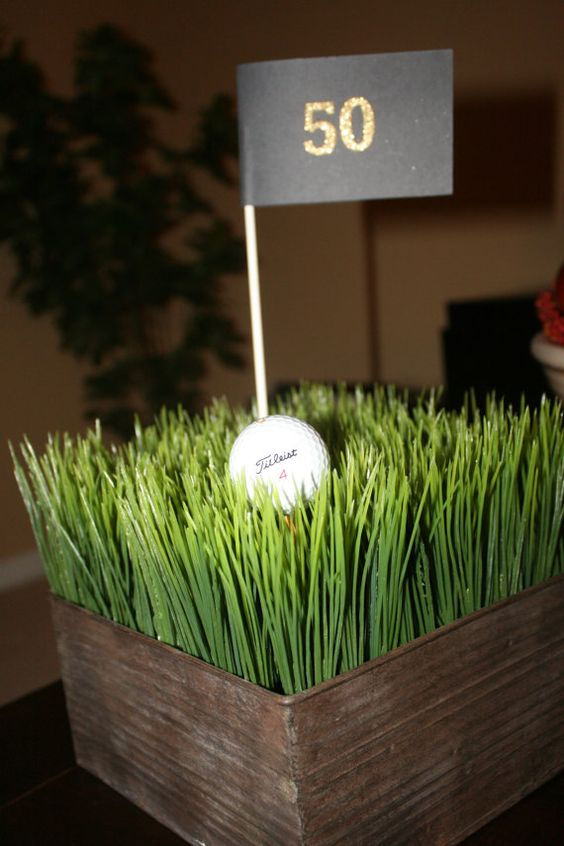 Creative centerpieces and tables on pinterest for Golf centerpiece ideas