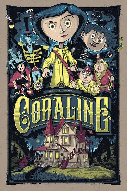 Watch Coraline Full Movie Art Tim Burton Affiche Retro Dessin Tim Burton