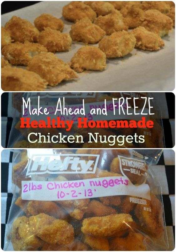 Healthy- Freezer Chicken Nuggets.  Great for easy weeknight meals.  Make a Huge batch at a time.  they will go fast though!