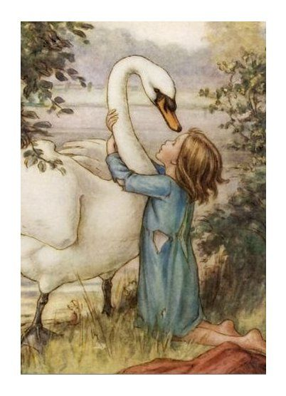 4.  She threw her arms round his neck.  Lord of the Rushie River by Cicely Mary Barker, 1938.