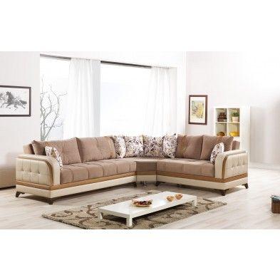 Canapé angle gauche convertible tissu chiné gris anthracite et blanc