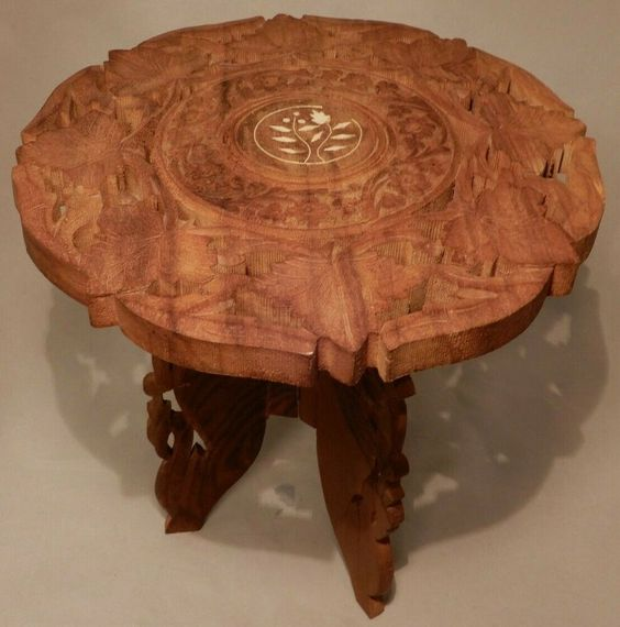 Vintage Hand Carved Wooden Table Plant Stand Inlaid Top Folding
