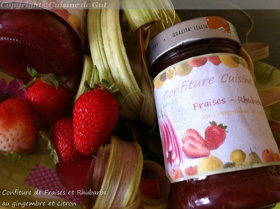Confiture fraises rhubarbe au gingembre et citron