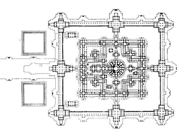 Plan du temple du Bayon, Angkor Thom, Siem Reap, fin du XIIe-début du XIIIe siècle. Règne de Jayavarman VII.