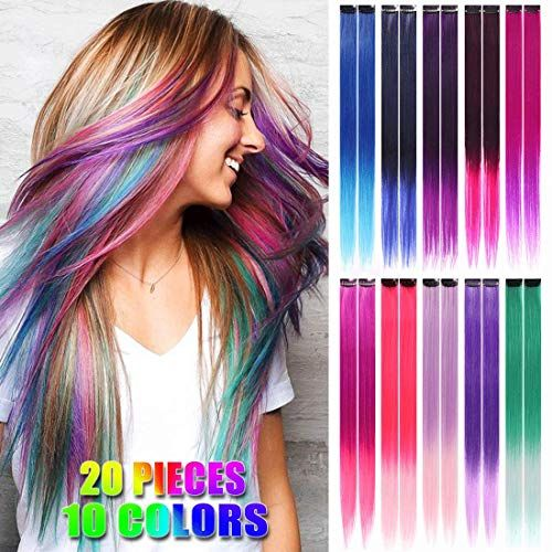 20 Pcs Ombre Colored Clip In Hair Extensions 21 Inch Heat Resistant Synthetic Straight Hair Extensions For Women Girls Kids Gift Multi Colors Party Highlights C In 2020 One Piece Hair Extensions Colored