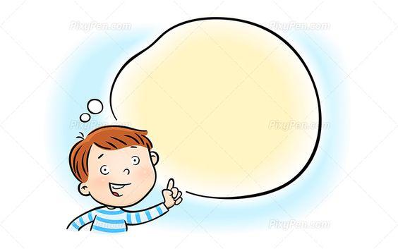 Happy Little Boy Pointing Speech Bubble Vector Illustration Pixypen Vector Illustration Clip Art Happy Kids