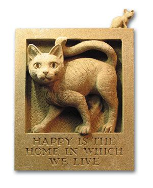 Cat and mouse wall plaque.: