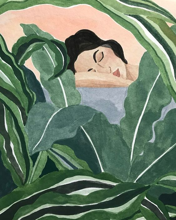 "ohkiistudio: ""Another experiment - lady in bath with plants  (at Williamsburg, Brooklyn) """