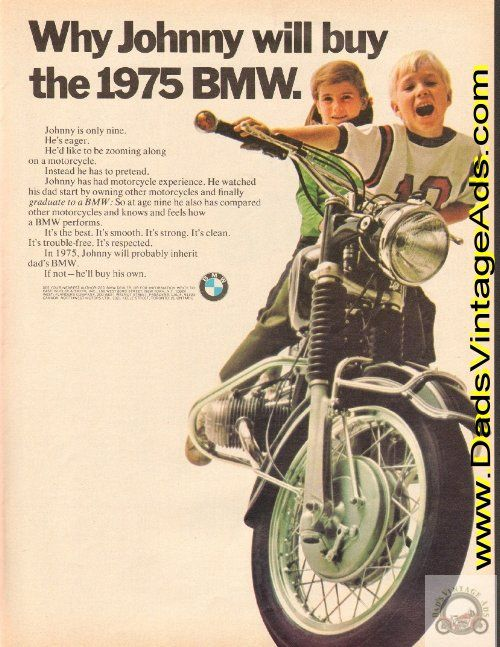 1968 Vintage BMW Motorcycle Ad: Why Johnny will buy the 1975 BMW
