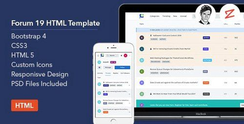 Themeforest Forum19 V1 0 Html Template Free Download Templates Html Templates Custom Icons
