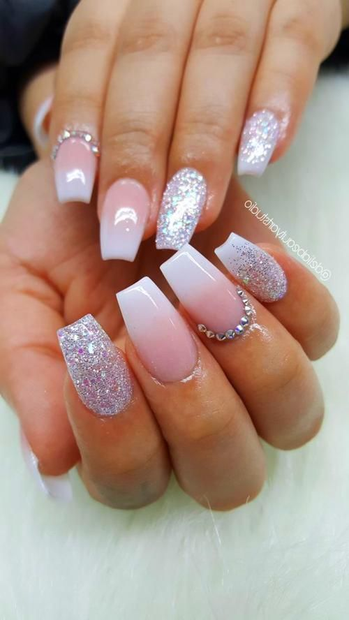 White Acrylic Nails In 2020 Pink Glitter Nails Silver Glitter Nails Pink Ombre Nails