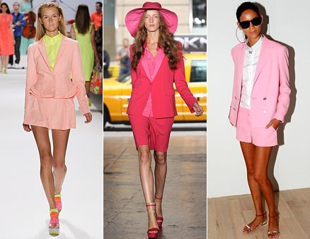 Love the feminine short suits especially in pink!