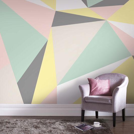 Master bedroom feature pastel geometric wall mural - How to paint murals on bedroom walls ...