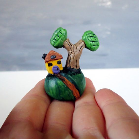 Tiny house figurine Miniature house Polymer clay by WhimsyCalling, $15.00