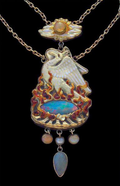 The Phoenix, Arts & Crafts necklace by James Cromar Watt (1862-1940). Gold, enamel, pearl, and black opal. Tadema Gallery