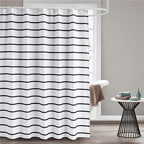 Seavish Fabric Shower Curtain Black And White Striped Geometric