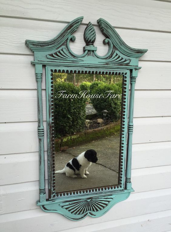 A personal favorite from my Etsy shop https://www.etsy.com/listing/219481305/decorative-wall-hanging-mirror-turquoise