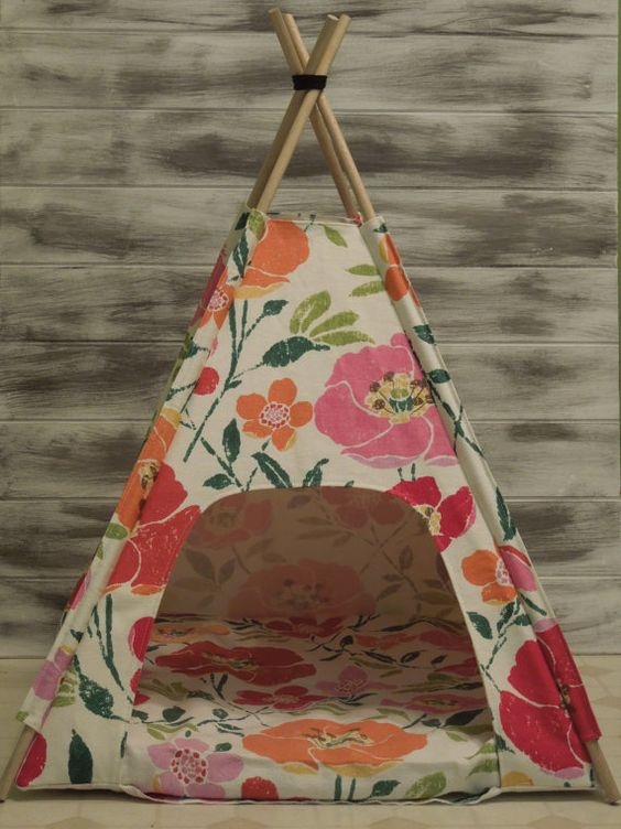 Teepee dog or cat bed! Cutest little bed I have ever seen! available at Etsy atVintage Kandy Tenthouse Suites -SALE