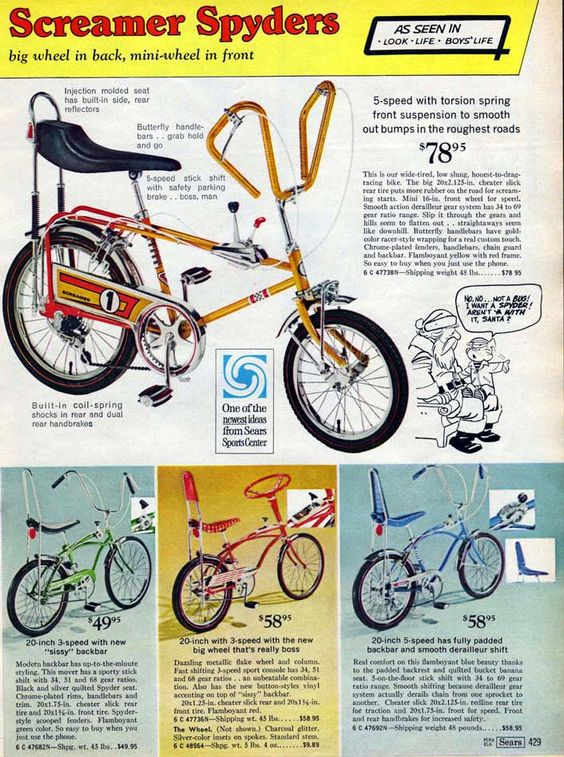1969 Sears Screamer Spyder Bicycle Ad Bicycles Pinterest