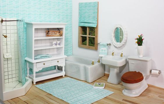 Adorable dollhouse bathroom furniture and accessories with diy miniature sign and shower