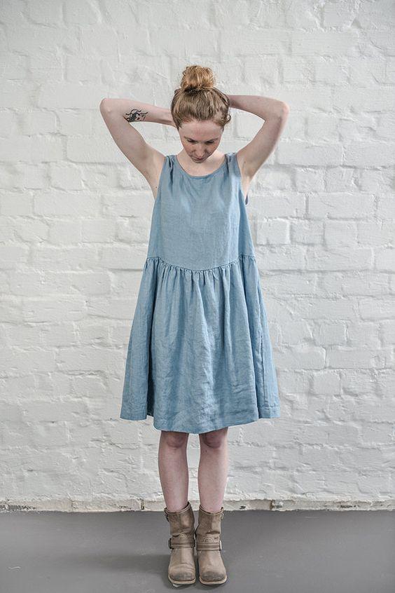 linen dress swedish blue linen loose dress linen