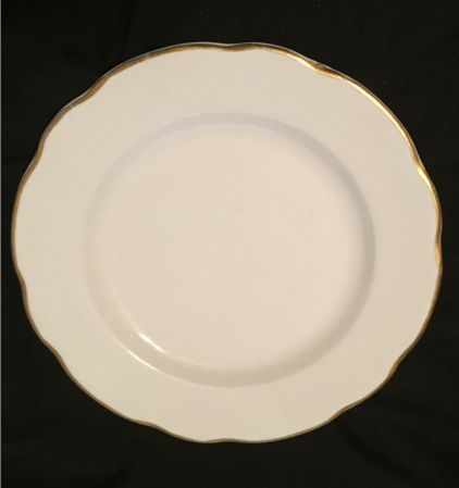 "Buffalo China 9 1/2"" plate.  White with gold rim, scalloped edge.  Backstamp dates to late 1970s - circa 1980s.  (4)"