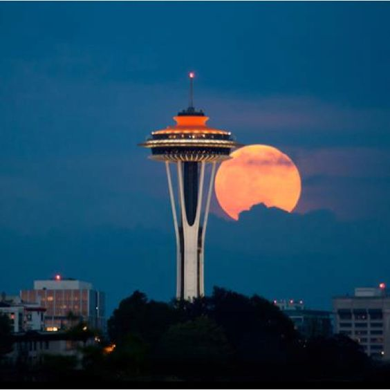 Super Moon and the Space Needle.: