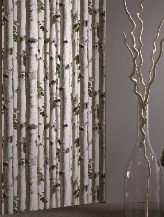 Curtains Ideas birch tree curtains : White birch tree wallpaper And i thought it was curtains ...