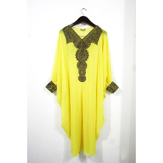fancy moroccan style YELLOW caftan gold embroidery dubai abaya sheer... ($44) ❤ liked on Polyvore