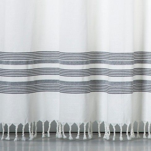 Striped Fringe Shower Curtain Off White Threshold White