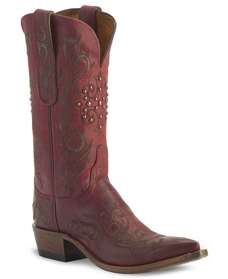 Lucchese Boots - 1883 Burnished Red Mad Dog Goat Skin Cowgirl Boot - Snip To   Oh heyyy