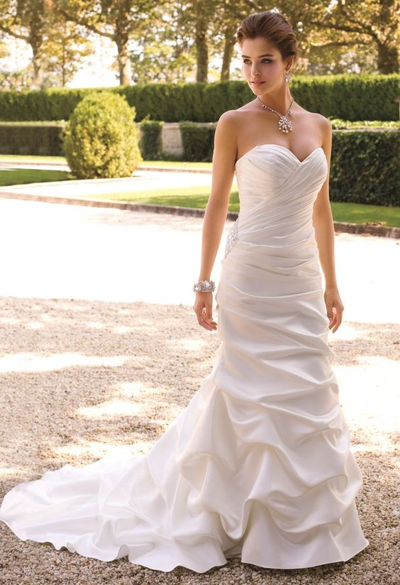 Satin Trumpet Wedding Dress with Sweep Train from Camille La Vie and Group USA